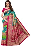 Ishin Poly Silk Blue Printed Women's Saree/Sari With Blouse Piece
