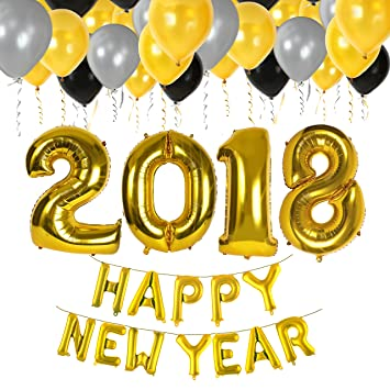 Amazoncom 40 Inch Happy New Year 2018 Foil Mylar Balloons For New