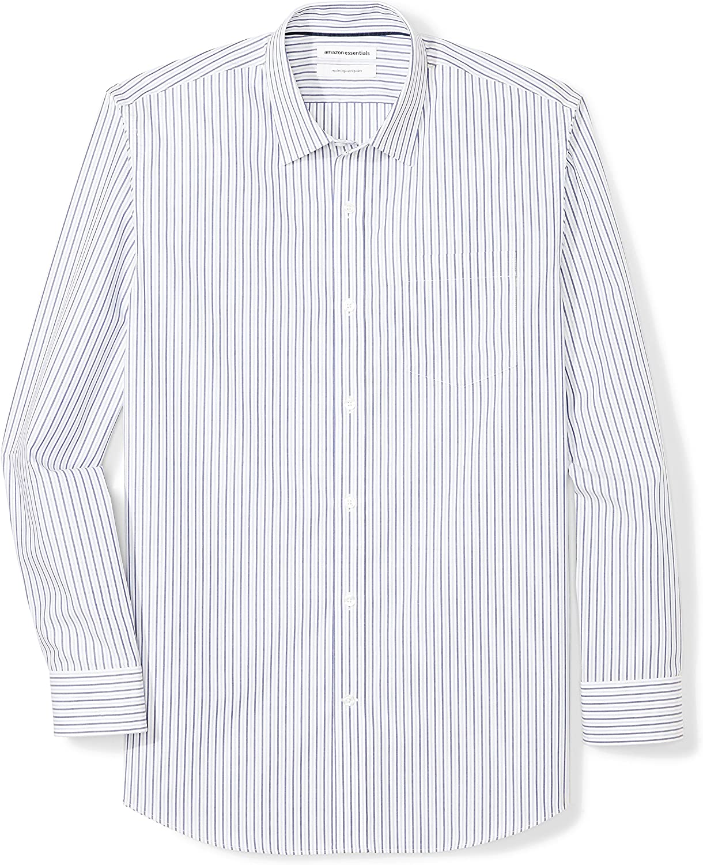 Essentials Mens Regular-Fit Wrinkle-Resistant Long-Sleeve Stripe Dress Shirt