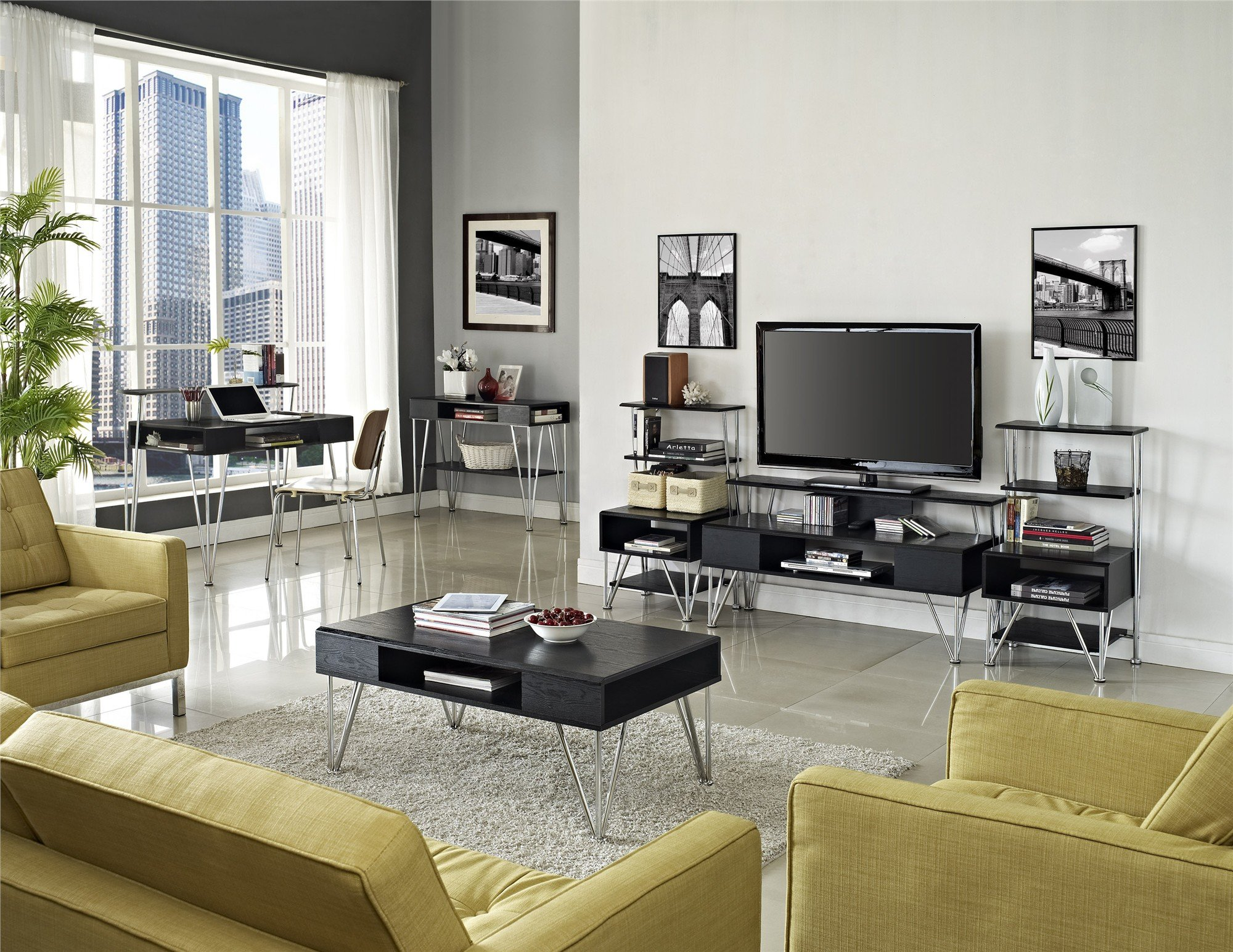 Altra Furniture Rade Entertainment Media Stand, Black and Silver Finish