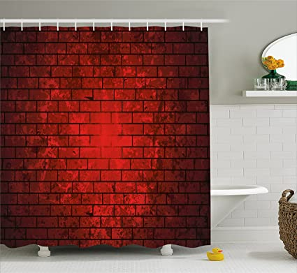 Ambesonne Maroon Shower Curtain By Dark And Grunge Brick Wall Stained Display Vibrant Vintage Design