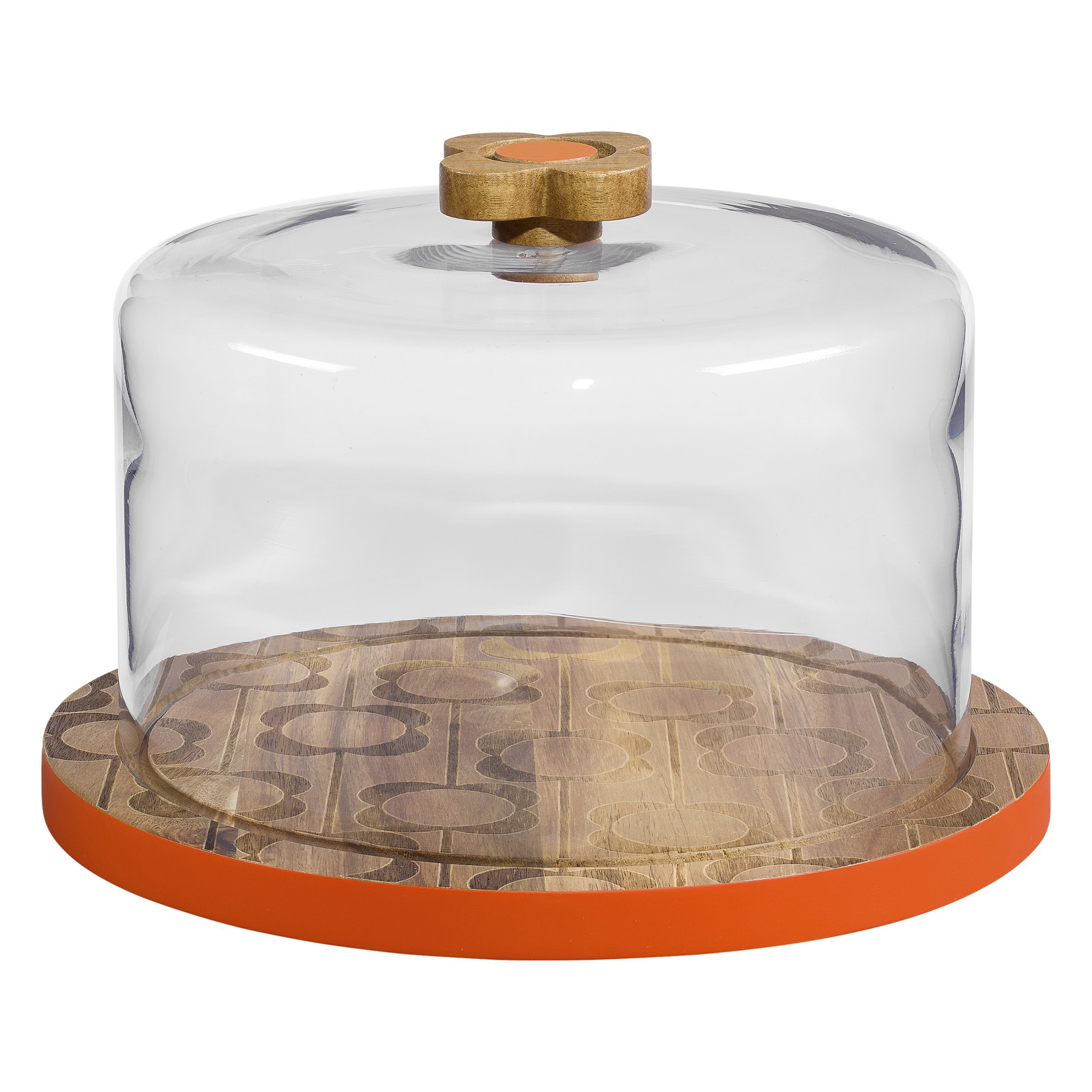 Wooden Serving Dome | Abacus Flower Print