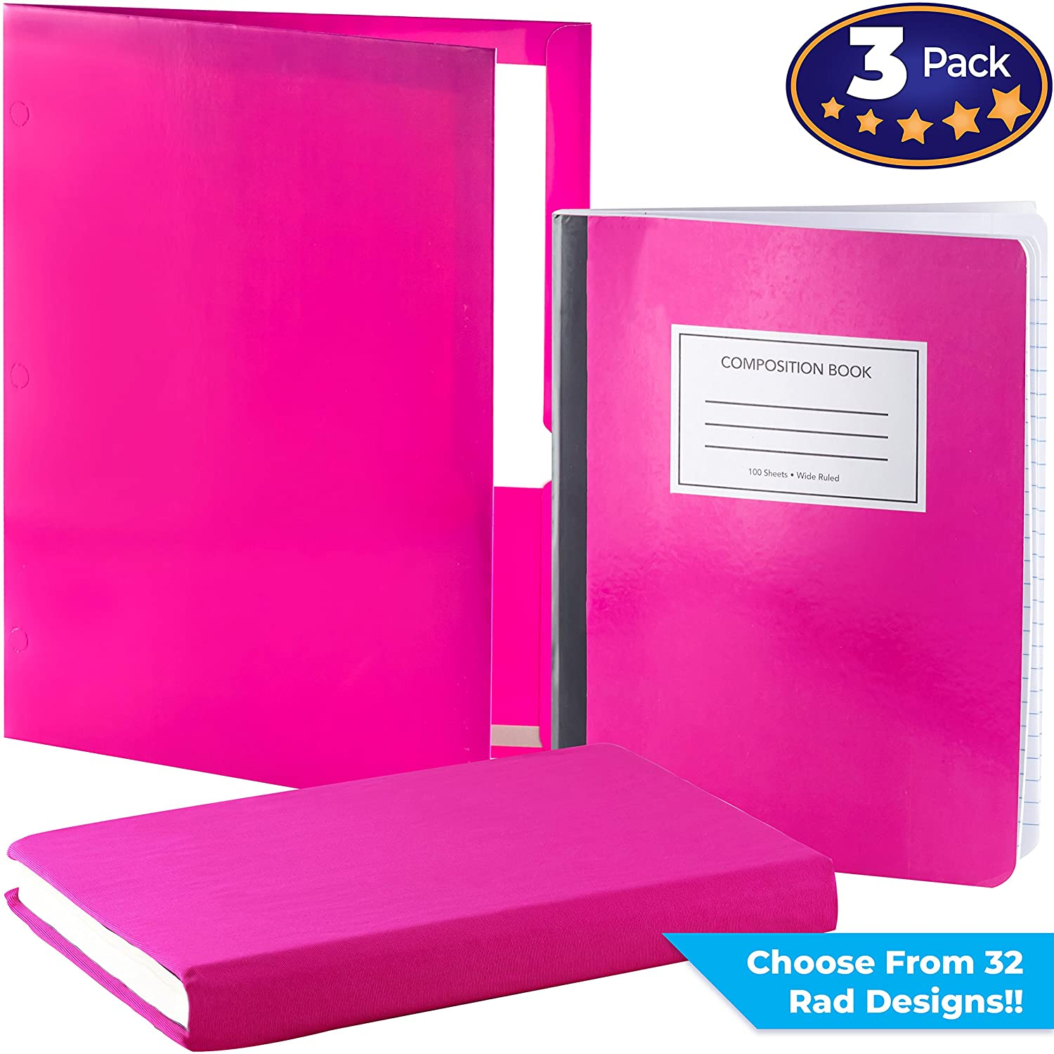 Matching Book Cover, Folder and Composition Notebook Pack. Our Set Of Stretchable Textbook Protector with a Durable Portfolio and Note Pad Is An Essential Supply to Keep Students Organized In School Eucatus