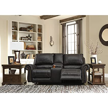 Ashley Furniture Signature Design   Milhaven Faux Leather Upholstered  Double Reclining Loveseat W/Console