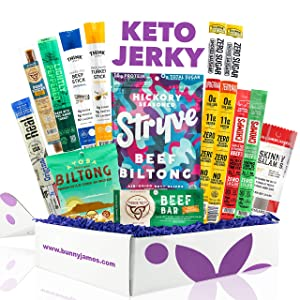 Keto Jerky Curated Sampler Box - 13 Premium Keto Beef Jerky Snacks, Includes Low-carb High Fat Keto Jerkies Made From Grass-fed Beef, Turkey, And Pork Great Keto Valentine's Day Gifts For Keto Dieters