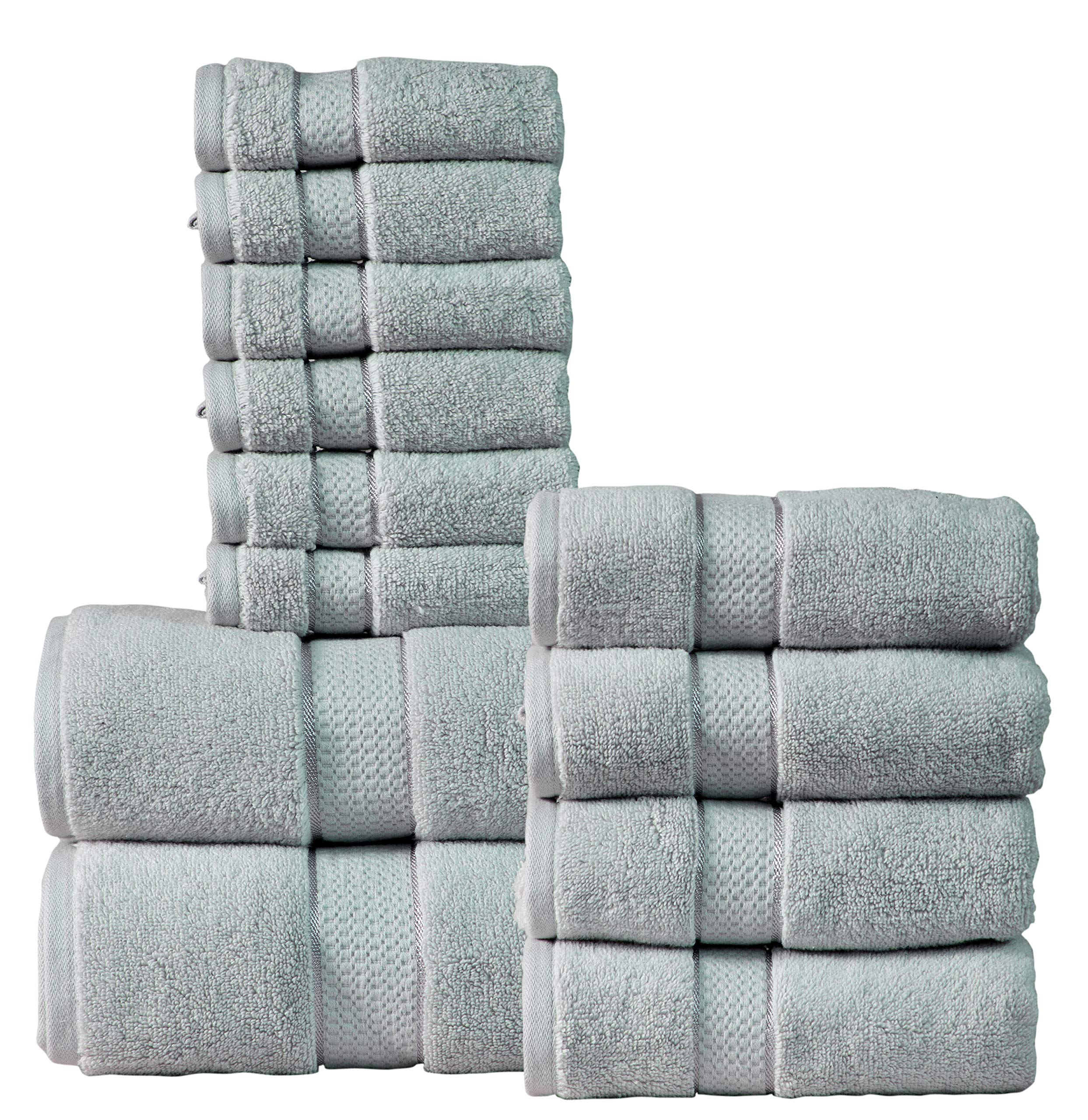Wicker Park 550 GSM Combed Zero Twist Cotton 12-Piece Towel Set (Platinum Grey): 2 Bath Towels, 4 Hand Towels, 6 Washcloths, Long-Staple Cotton, Spa Hotel Quality, Super Absorbent, Machine Washable