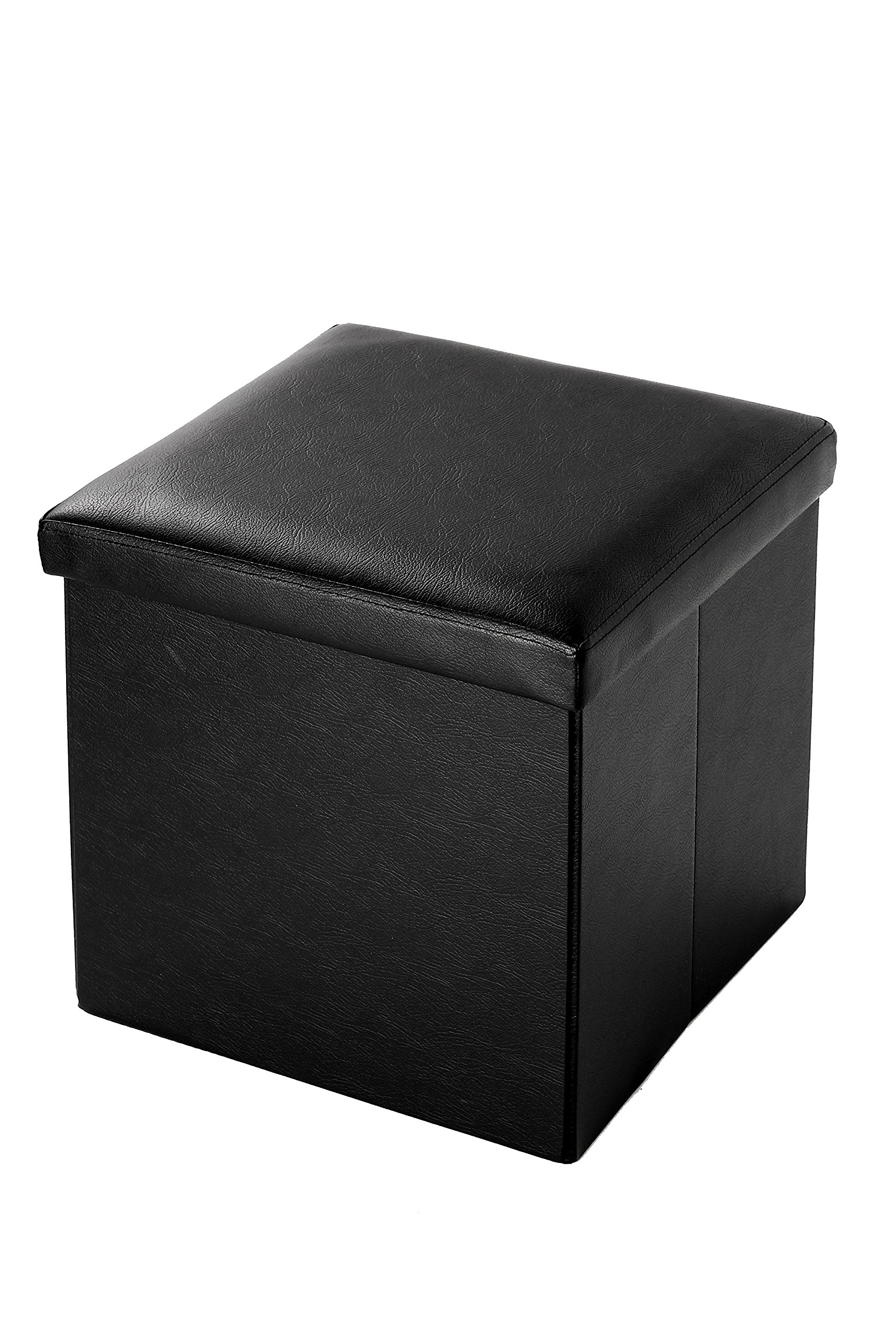 Juvale Black Faux Leather Storage Ottoman - Foot Rest, Folds For Easy Storage - 15 Inches