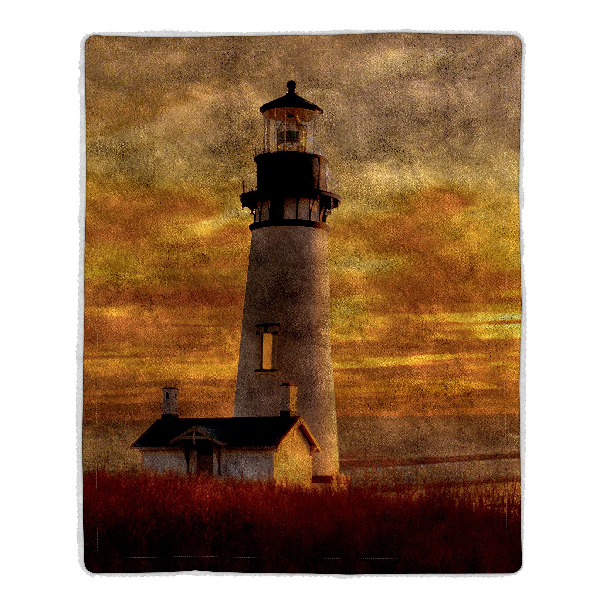 Lavish Home 64 Sherpa Fleece Blanket, Lighthouse Print