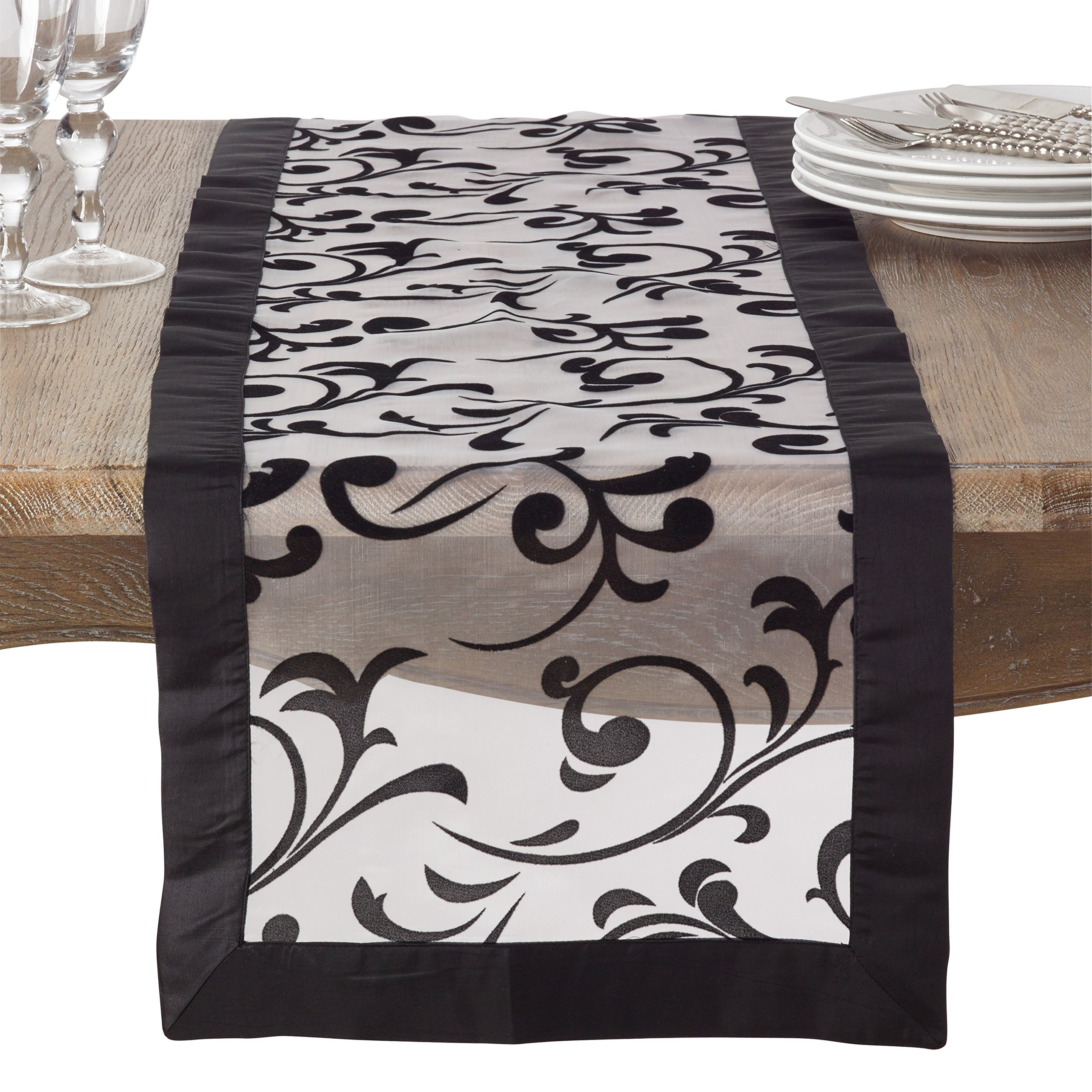 SARO LIFESTYLE Flocked Design Satin Border Sheer Table Runner, 16'' x 72'', Black