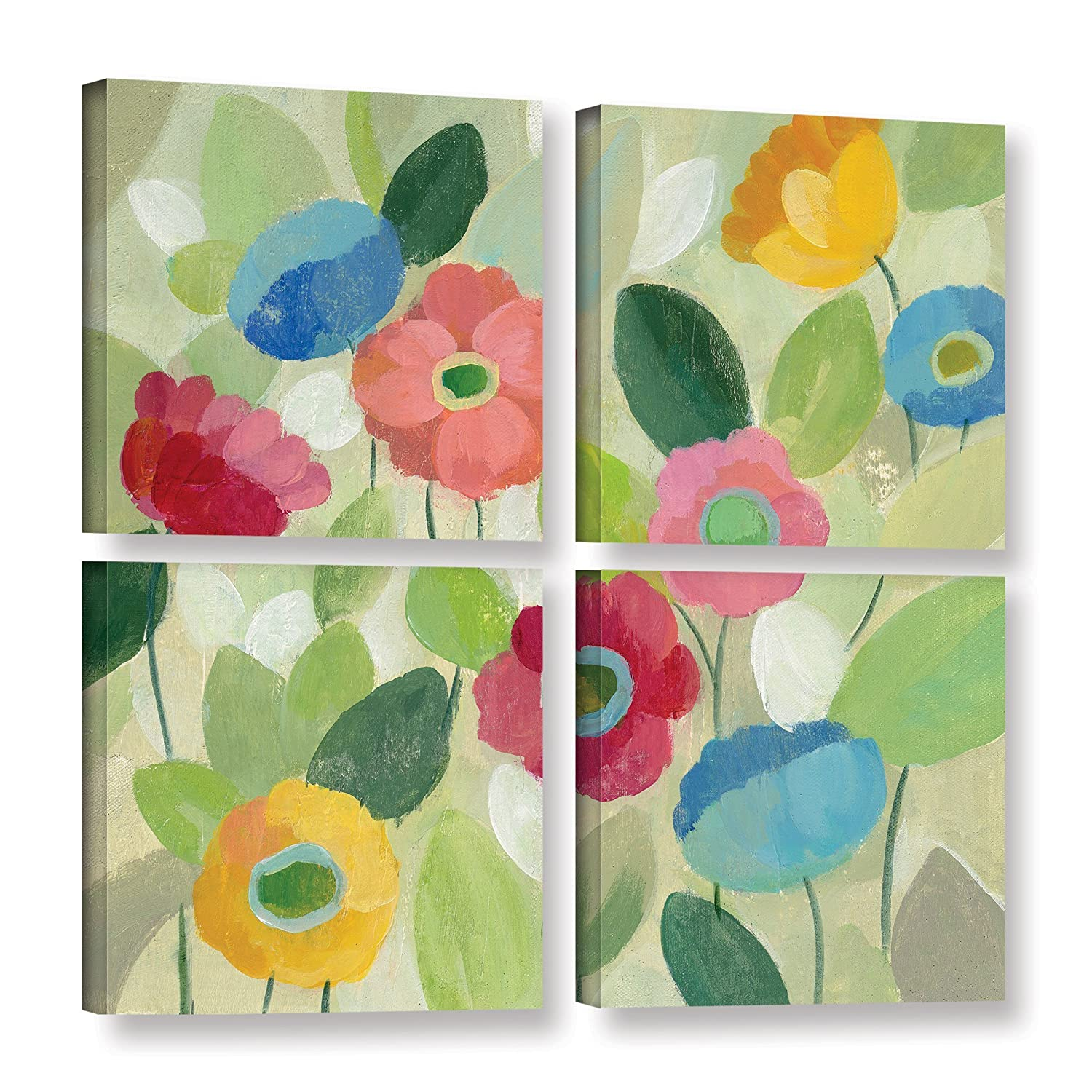 ArtWall 4 Piece Silvia Vassilevas Fairy Tale Flowers IV Gallery Wrapped Canvas Square Set 48 x 48