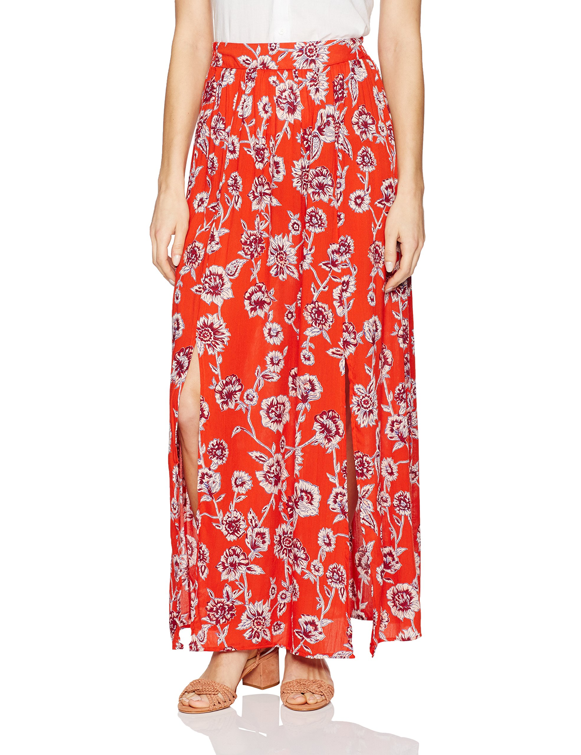 Angie Women's Print Front Slit Maxi Skirt, Red, Small