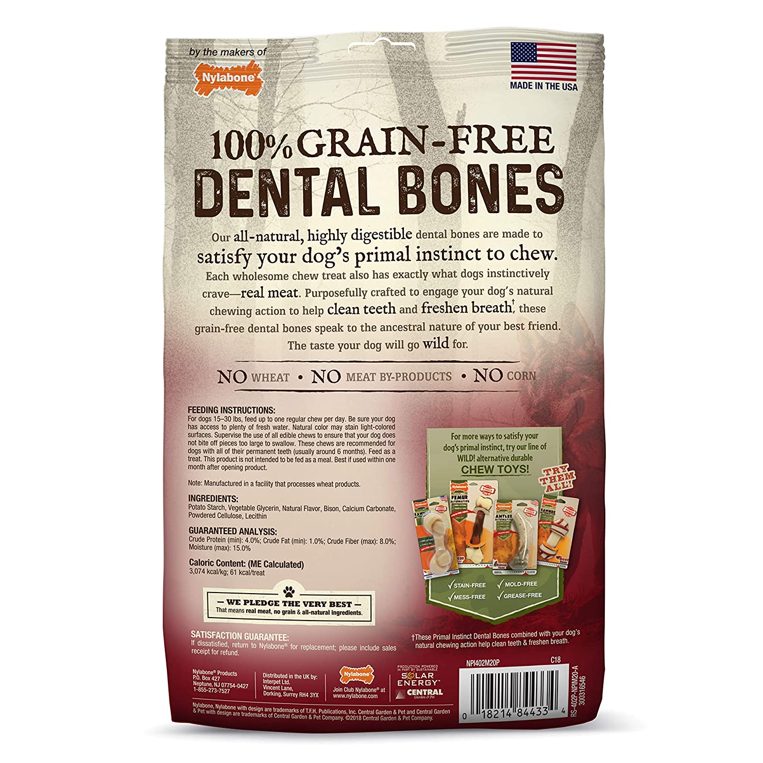 Nylabone Primal Instinct Dog Dental Chews Grain Free Dog Treats Made in The USA Regular Size Chicken or Beef Flavor