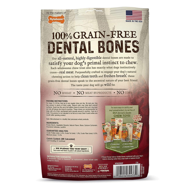 Nylabone Primal Instinct Dog Dental Chews Grain Free Dog Treats Made in The USA Regular Size Chicken or Beef Flavor