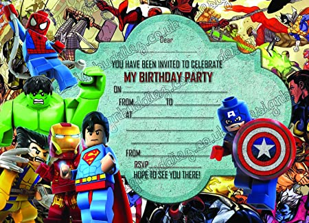 Boys Birthday Party Invitations Lego HeroLego Marvel Hero X 10 CARDS Envelopes Amazoncouk Kitchen Home