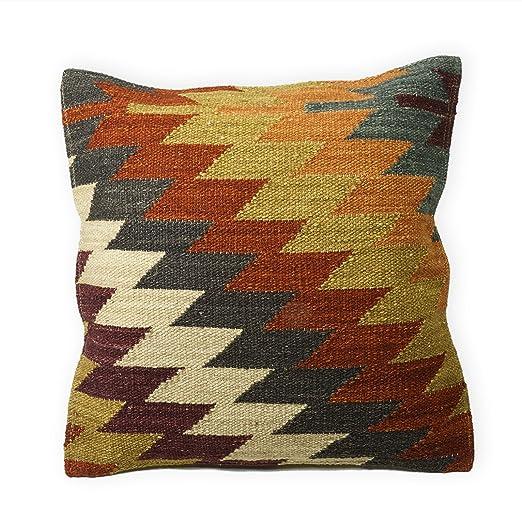 Comercio justo Alwar fundas de cojín de Kilim hecho a mano en telares con 80/20 lana/algodón y tintes naturales, tela, multicolor, 45 x 45