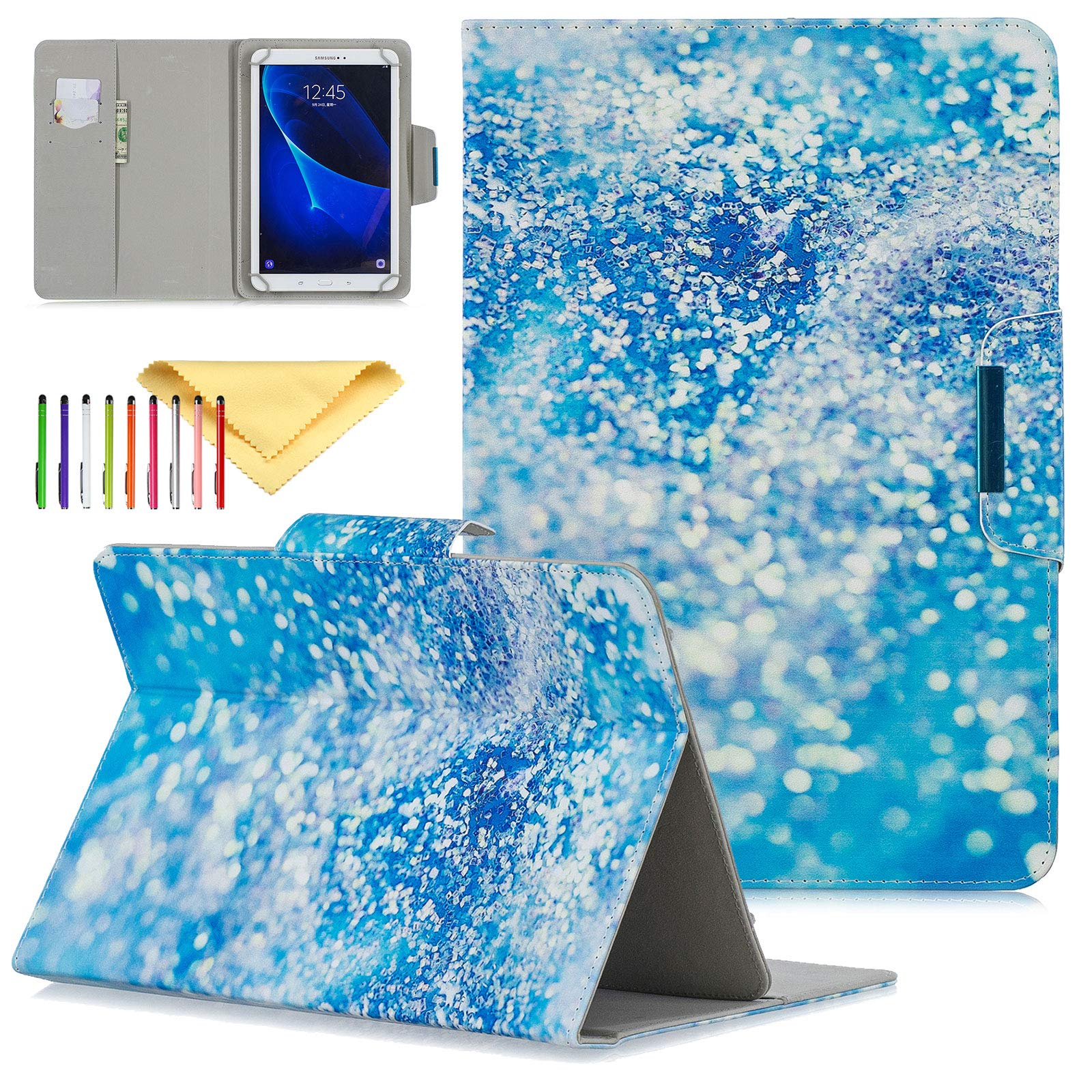 Universal Case for 9.5-10.5 inch Tablet, Uliking Wallet Case for F ire HD 10 2017 2015, for Samsung Galaxy Tab 4 9.7 Tab E 9.6 A 9.7,Tab S, for Google Nexus 9, for iPad Air 2 1, Blue Glitter