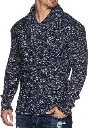 Jersey de punto con cuello tipo bufanda para hombre entallado Tazzio 16488