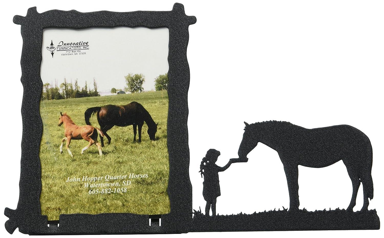 326-3x5V Girl Feeding Horse 3X5 Vertical Picture Frame Innovative Fabricators Inc