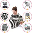 My Sweet Star –Multi Use 6-in-1 Nursing and Breastfeeding Baby Cover –Organic Stretchy Fabric Set- Covers Infant Car Seat Canopy, Stroller, Shopping Cart, High Chair and Use as Infinity Scarf, Shawl