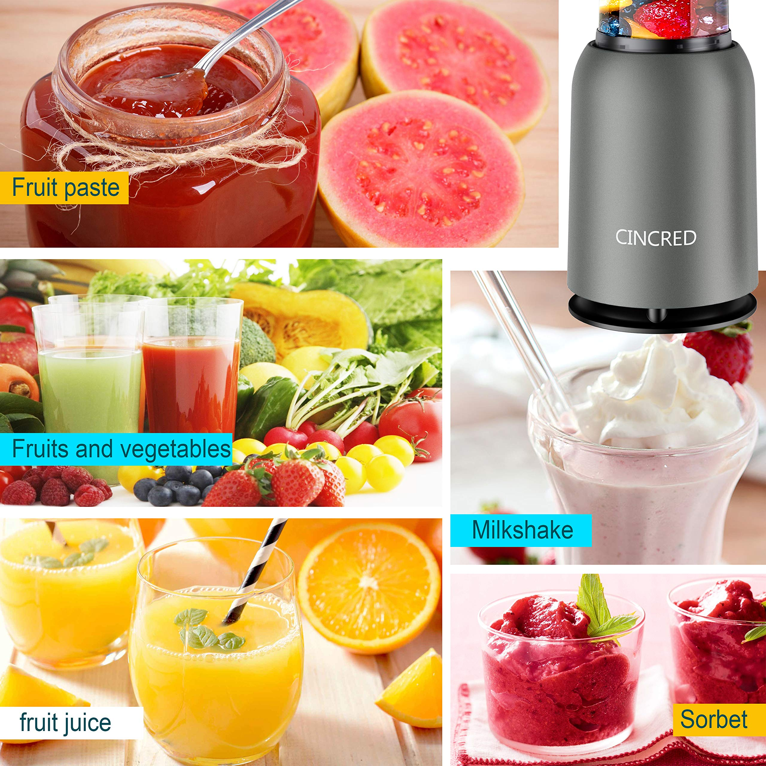 Updated 2019 Version Professional Personal Countertop Blender for Milkshake, Frozen Fruit Vegetables Drinks, Smoothie, Ice, Small Mini Portable Single Food Bullet Blenders Processor Shake Mixer Maker with Cup for Home Kitchen by Cincred (Image #3)