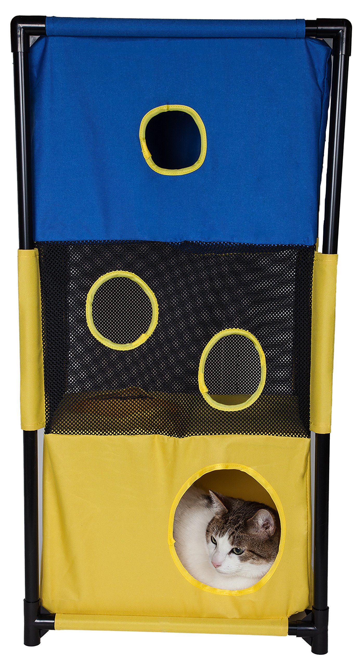 Pet Life Kitty-Square' Collapsible Travel Interactive Kitty Cat Tree Maze House Lounger Tunnel Lounge, One Size, Yellow and Blue