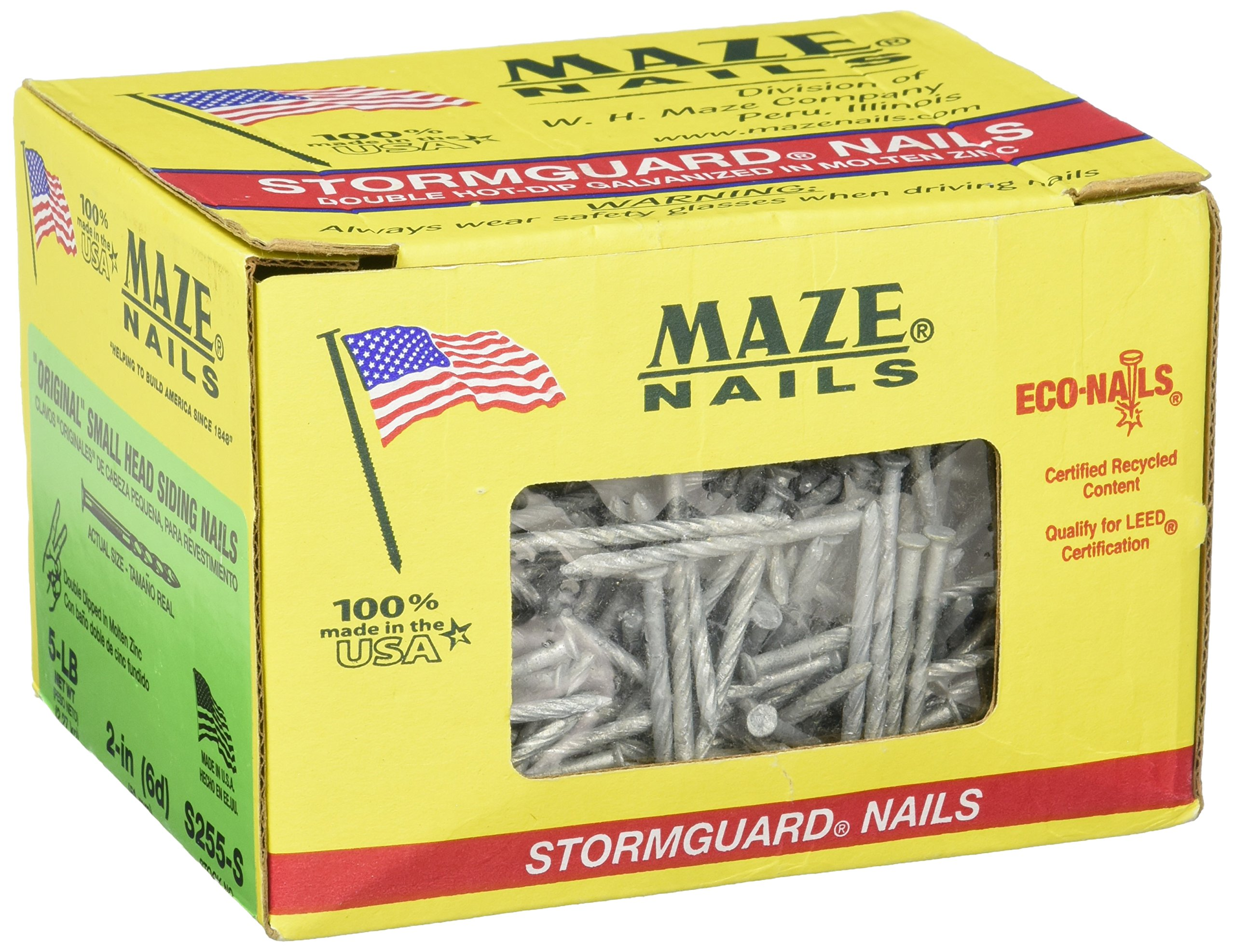 MAZE NAILS S255S-5 Double Hot Dipped Spiral Shank Small Head Siding Nail, 5-Pound 6D 2-Inch