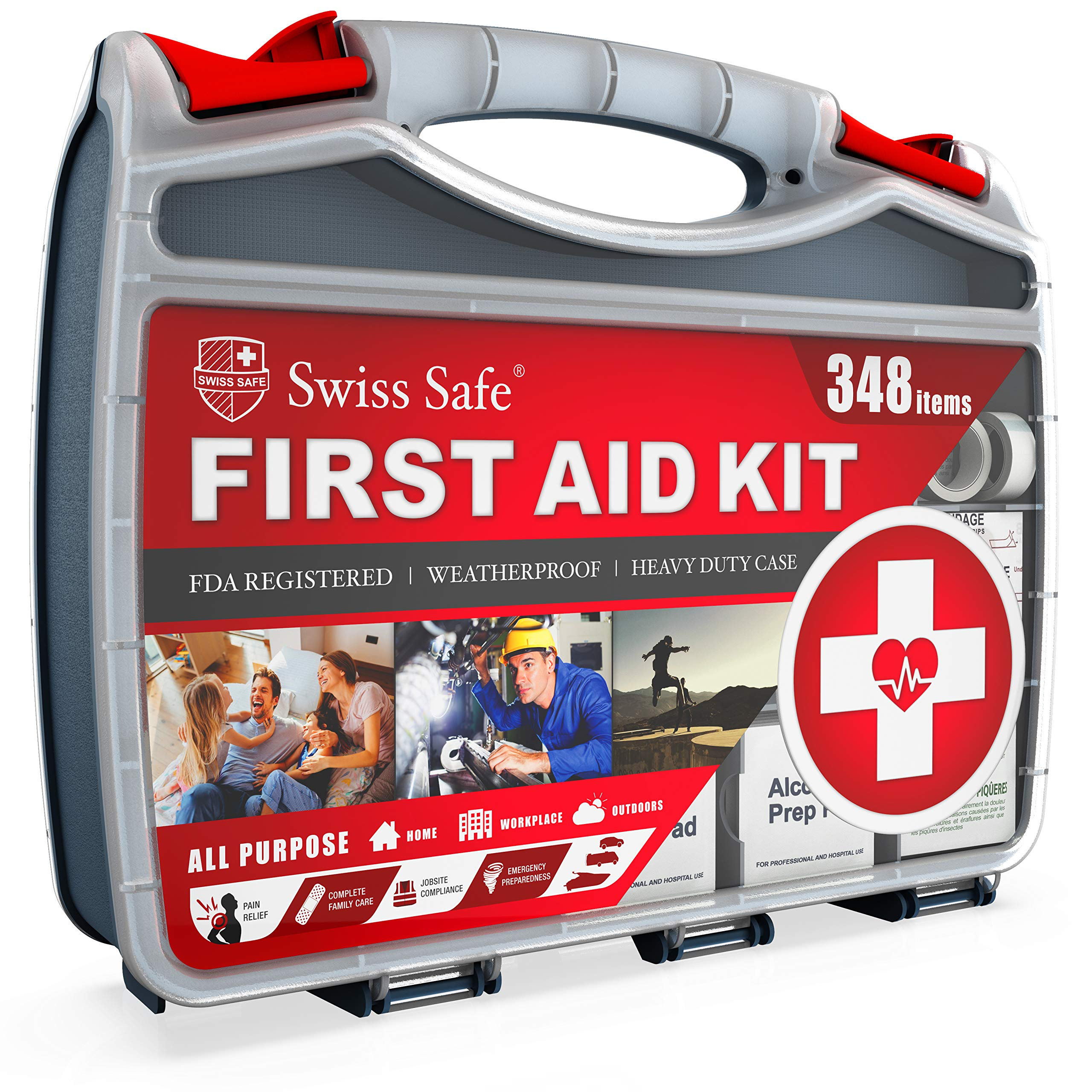 2-in-1 First Aid Kit (348-Piece) 'Double-Sided Hardcase' + BONUS 32-Piece Mini Kit: Perfect for Home & Workplace Safety [50 Person Kit] by Swiss Safe