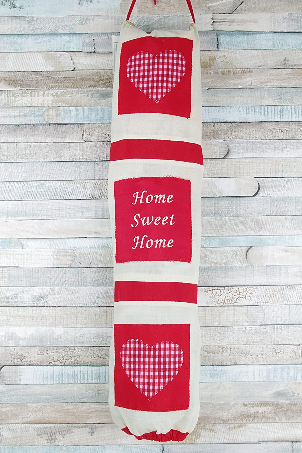 Carrier Bag Holder Bag For Life Holder Home Sweet Home Red & Cream HYK64628 global designs gifts