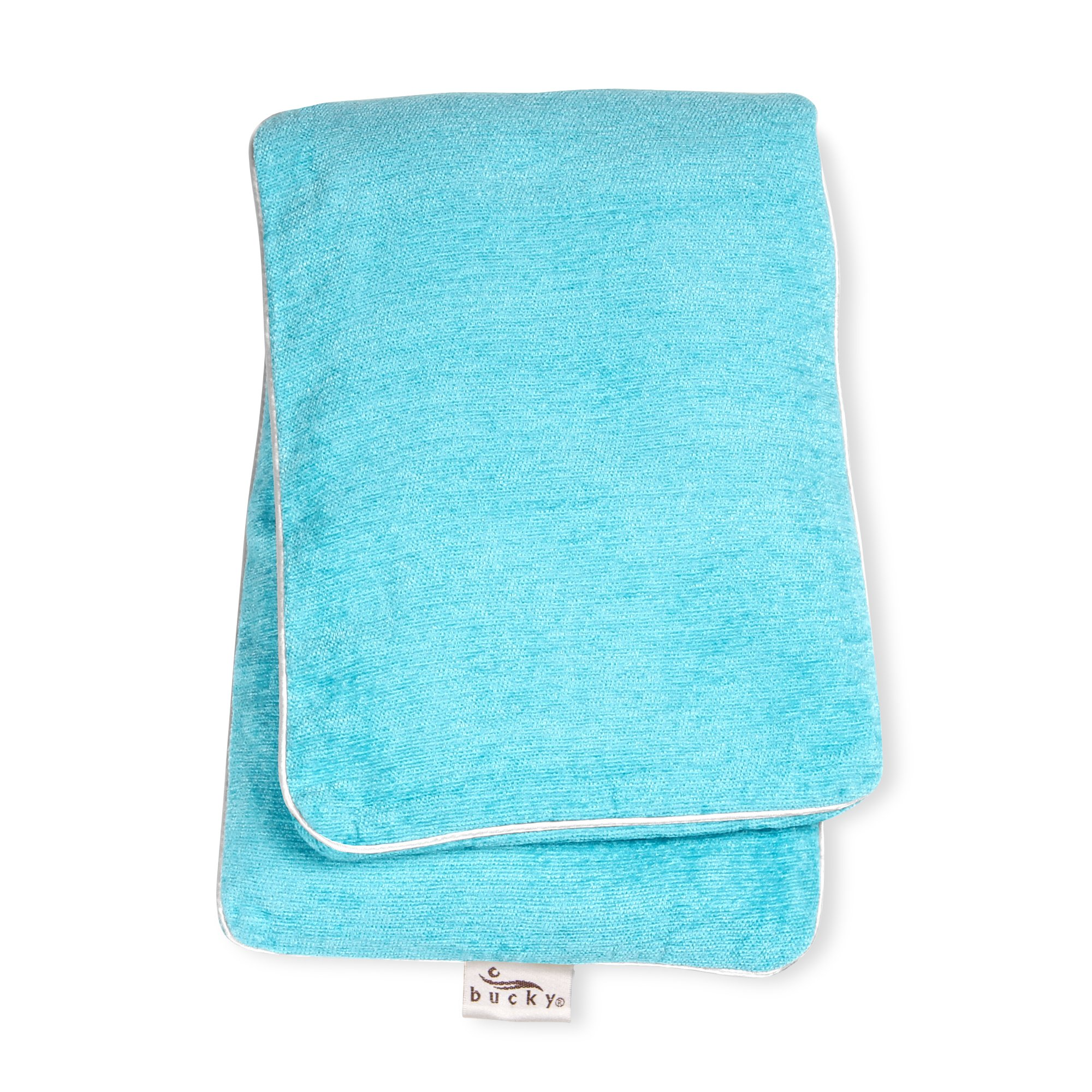 Bucky Hot & Cold Therapy Body Wrap to Relieve Sore or Achy Muscles, All Natural Buckwheat Seed Filling with Removable & Washable Cover, Use For Neck, Back, or Menstrual Pain Relief - Aqua