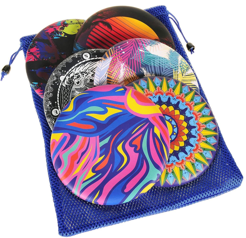 Bundled Items SET3 Bundle of 6 Unique Colors Waboba Wingman Flying Silicone Disc | Bonus Blue Nylon Mesh Drawstring Carry Bag