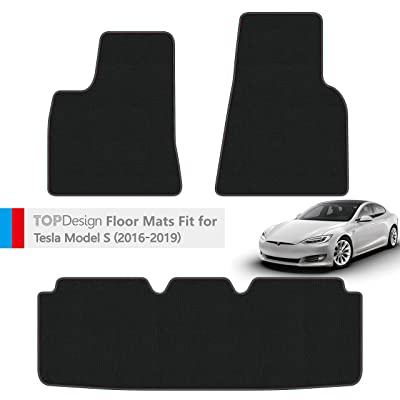 TOPDesign Hand-Stitched Carpet Car Floor Mats for Tesla Model S 2016 2020 2020 2020 Custom Fit (Blue and Red Color Double Sewing Binding): Automotive