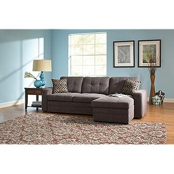 Amazon Com Acme Hiltons Charcoal Linen Sectional Sofa