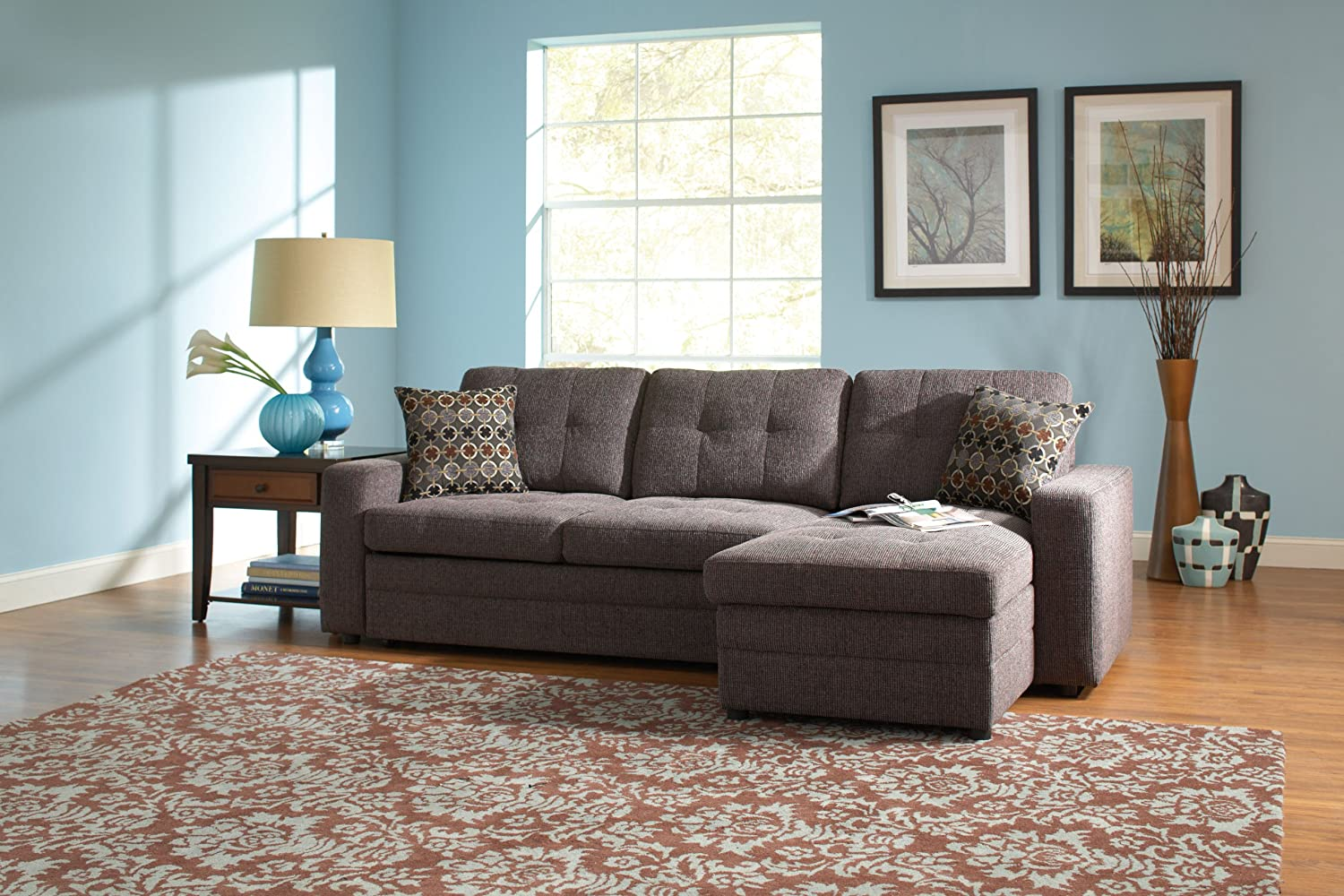 Gus 501677 98 sectional sofa with pull out bed chaise kiln dried hardwood frame sinuous spring base track arms plush cushions and fabric upholstery in
