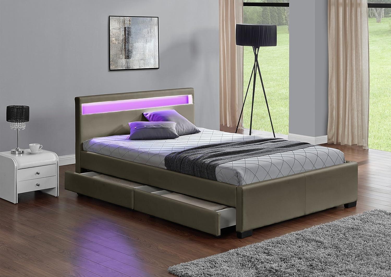 Fournier Décoration Bett mit LED-Beleuchtung, Rollkästen und Lattenrost, Kunstleder, Matt, Maße: 160x 200cm, CW8916B, Taupe Mat, 214x168x85 cm