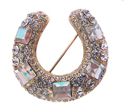 Brooch Boutique Gold Diamond White Diamante Crystal Lucky Horseshoe Brooch