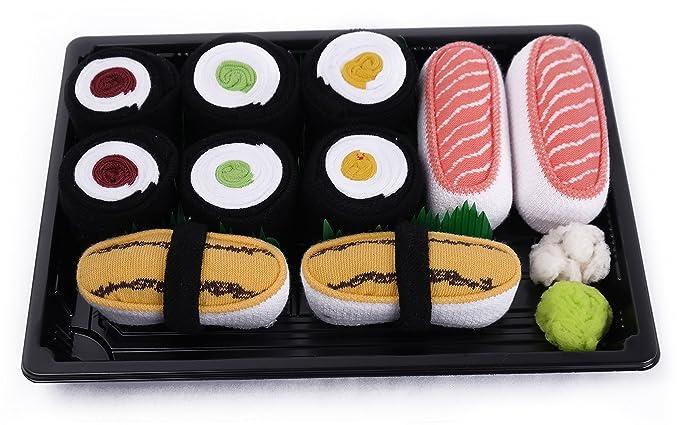 Sushi caja de calcetines – 5 pares – Tamago, salmón, Maki pepino, Maki