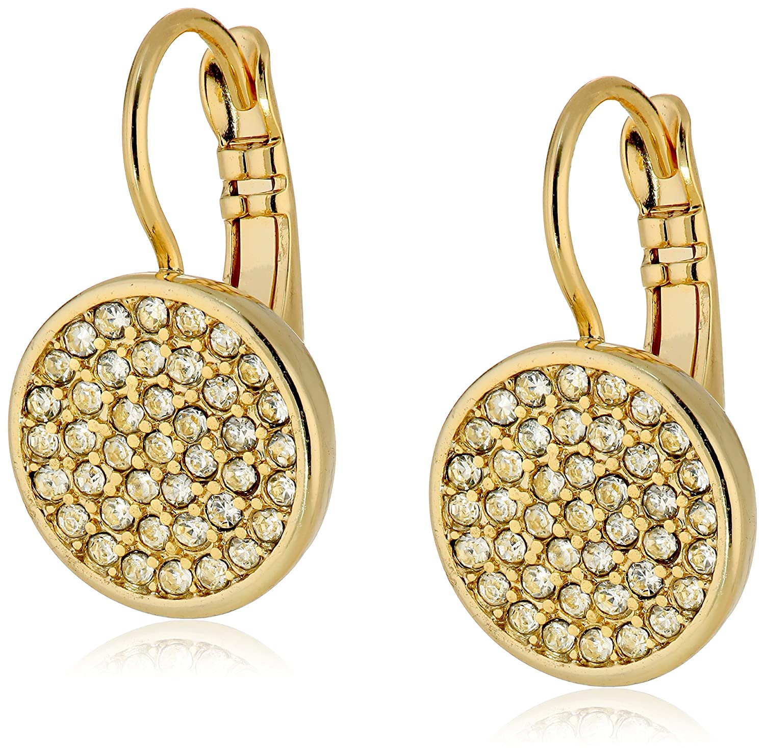 Amazon.com: Anne Klein Silver Tone and Crystal Pave Drop Earrings ...
