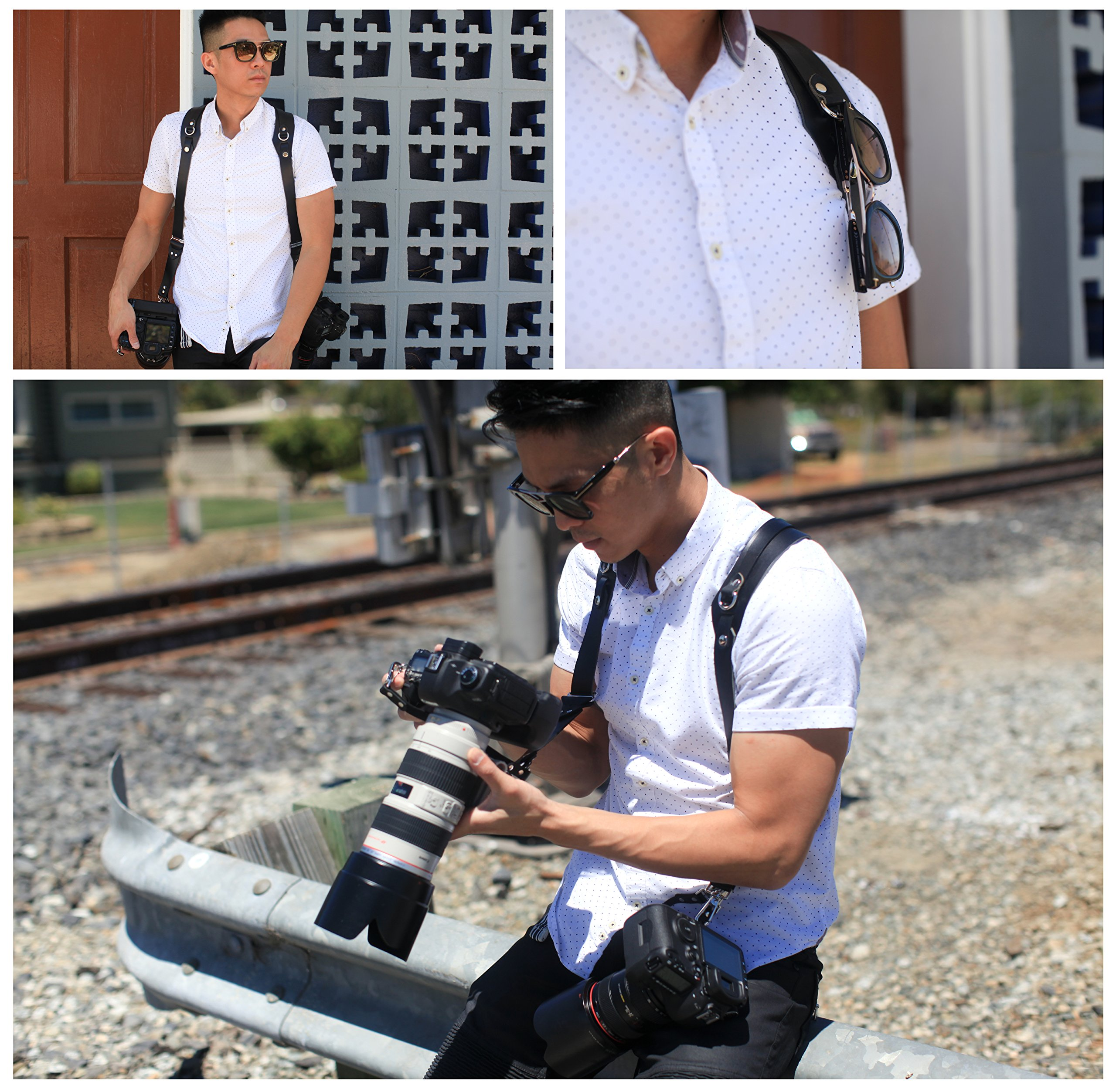 Clydesdale Pro-Dual Handmade Leather Camera Harness, Sling & Strap RL Handcrafts. DLSR, Mirrorless, Point & Shoot Made in The USA (Black, X-Large) by Republic Leather Company (Image #5)