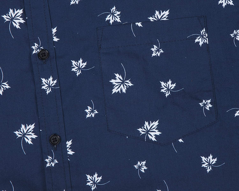 NUTEXROL Mens Print Shirt Casual Short Sleeve Regular-fit Cotton Shirts