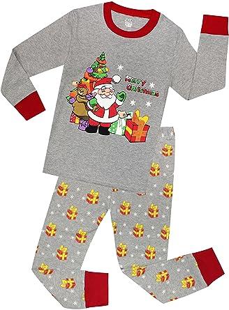 little girls and boys christmas pajamas children cotton clothes kids santa pjs pants set size 5