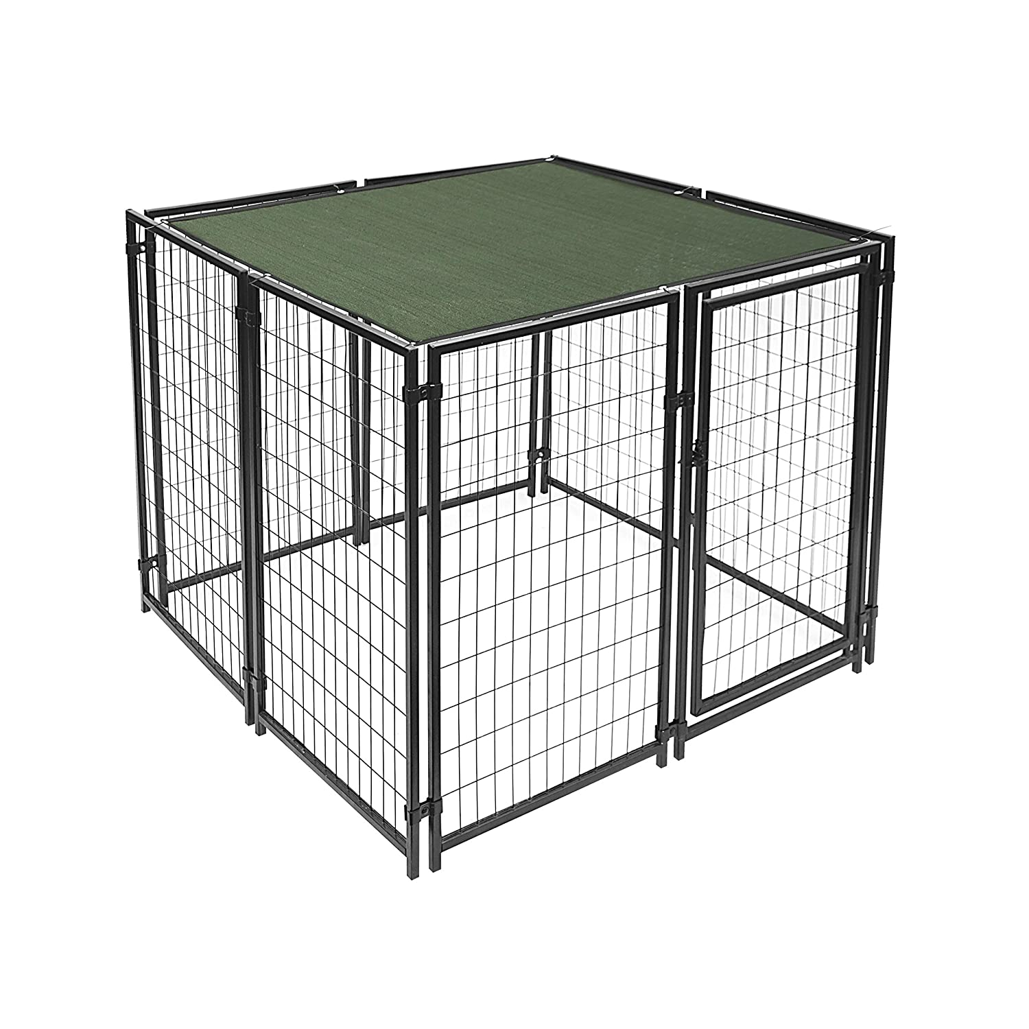 ALEKO® DKSC5X5X4SQ Heavy Duty Dog Kennel 5X5X4 Foot Pet Playpen With Dark Green Shade Cover With Aluminum Grommets