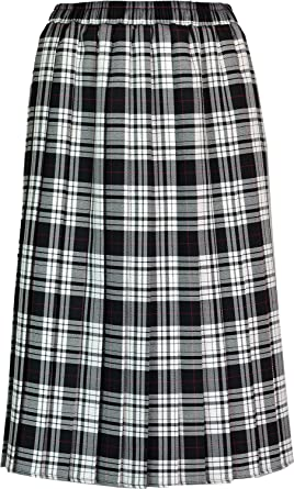 7559ec405a98 Womens Long Pleated Skirt Tartan Check Ladies Stretch Box Pleat Elasticated  Waist Waistband Skirts (Small