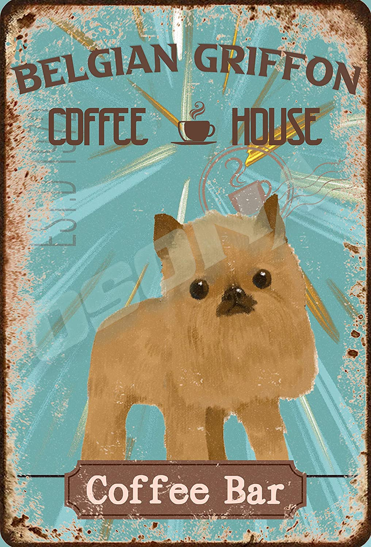OSONA Pet Coffee Bar Popillon Dog Coffee House R/étro nostalgique traditionnel rouille couleur /étain Logo publicit/é frappante d/écoration murale cadeau