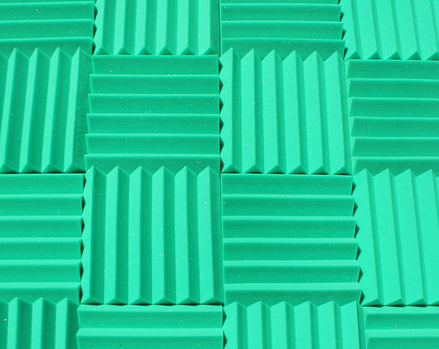 "Soundproofing Acoustic Studio Foam - Kelly Green Color - Wedge Style Panels 12""x12""x2"" Tiles - 4 Pack"