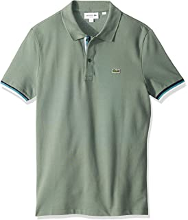 a73c7c1883f Lacoste Men's S/S 2 Ply Pique Slim Fit Striped Bottom Sleeve Polo