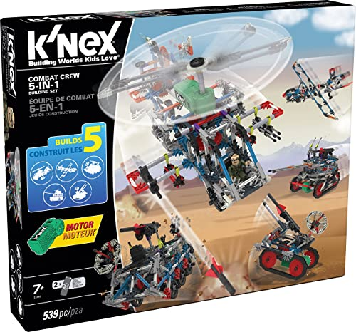 K'Nex Combat Crew 5-in-1 Building Set for Ages 7+ Construction Educational Toy, 539 Pieces