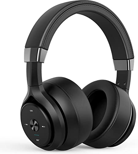 Bluetooth Headphones 40 Hours Playtime 4 Driver Units Hybrid EQ Bass Wireless Headphones Over Ear, Hifi Stereo Headset w HD Mic, Soft Protein Earpads for Gym Work Cellphone Workout Home Office -Black