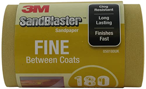 3M 025180UK SandBlaster Sandpaper Roll Fine Between Coats, 115 mm x 2.5 m