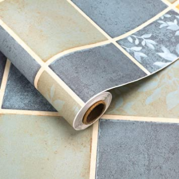 Vinyl-Bodenbelag 60x500cm PVC Klebefolie selbstklebend Flisenaufkleber St/ärke 0,35mm Belag Bodenschutz ca.3㎡//Rolle Dicker Folie Matt Retro-A