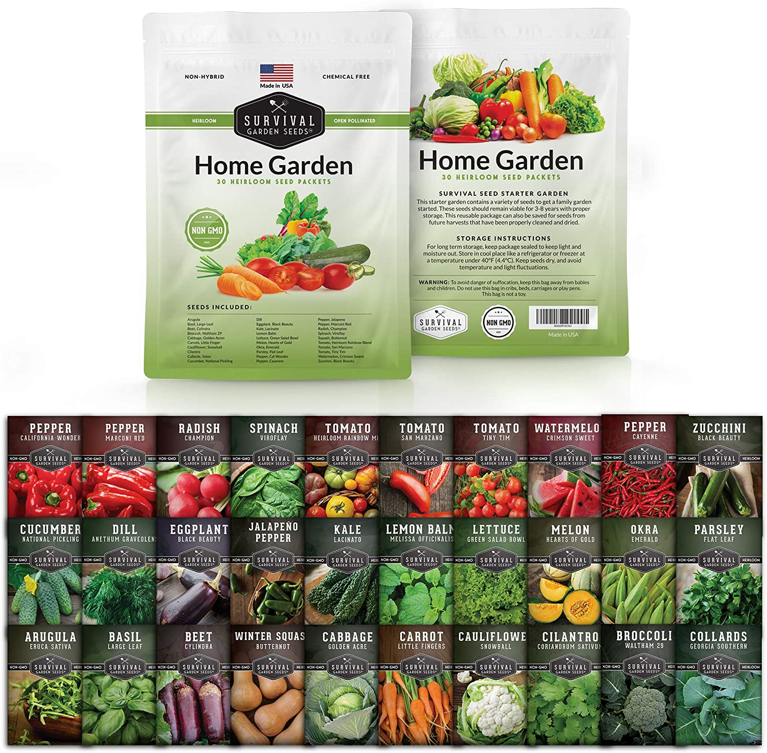 Survival Garden Seeds Home Garden Vegetable Seed Vault - Non-GMO Heirloom Survival Garden Seeds for Planting - Waterproof Packaging for Long Term Storage - 30 Varieties of Vegetables